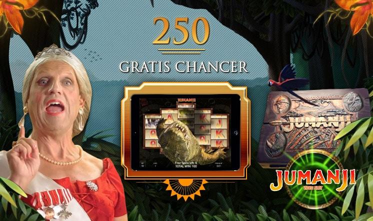 Få 250 Gratis Chancer til Jumanji