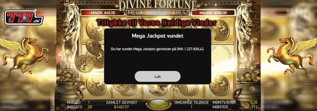 Mega jackpot vundet på Divine Fortune