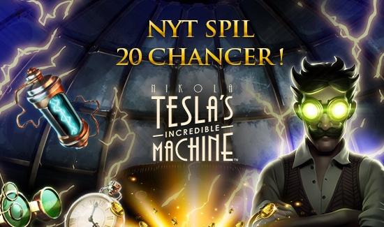 Få 20 spins til Nikola Tesla's Incredible Machine