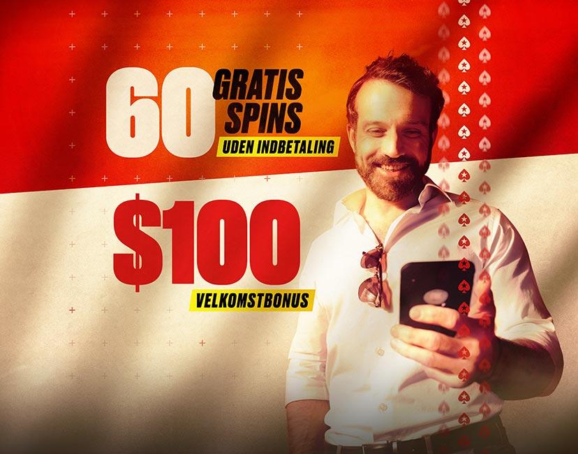 PokerStars velkomstbonus: 60 Gratis Spins + 650 kr